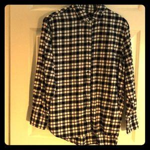 Madewell black & white plaid long sleeve shirt